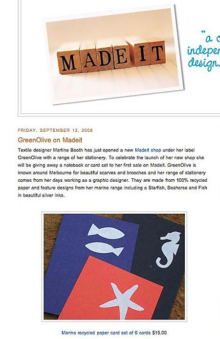 Madeit -- a celebration of independent australian design, craft & art- GreenOlive on Madeit