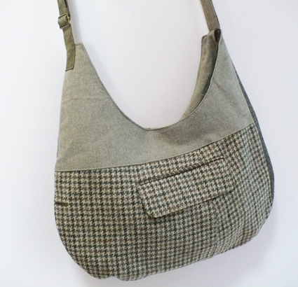 Green tweed handbag