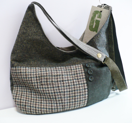 Green tweed handbag 2