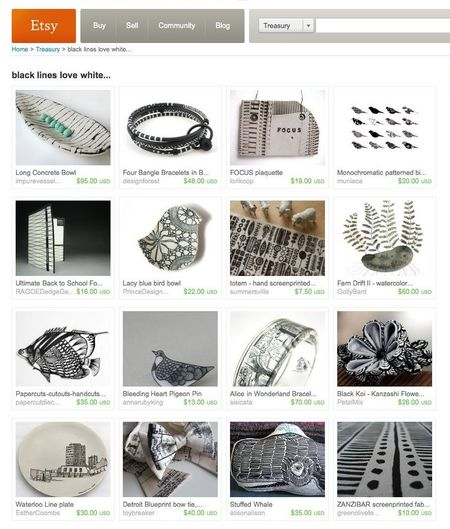 Etsy treasury – black lines